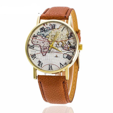 World Map Leather Fashion Watch for Women - Hautify