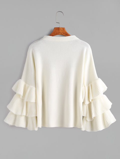 Ruffle Sleeve Pullover Womens Sweater - Hautify