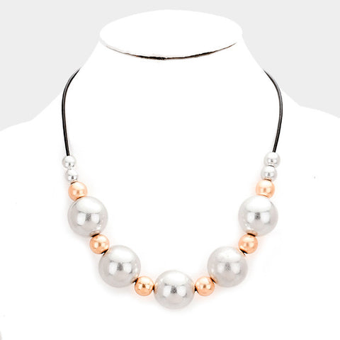 Metal Ball with Faux Leather Necklace - Hautify
