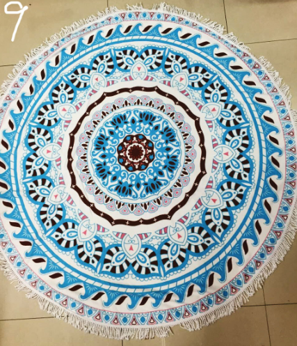 Blue Sunbathe Round Beach Towel - Hautify
