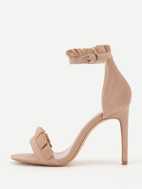Pleated Trim Design High Sandal Heels - Hautify
