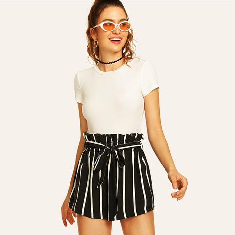 Striped Bow Knot Casual Elastic Shorts for Women - Hautify
