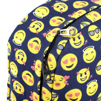 Cute Smile Face Print Canvas Travel Portable Bag Backpack - Hautify