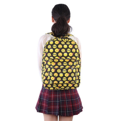 Cute Smile Face Print Canvas Travel Portable Bag Backpack