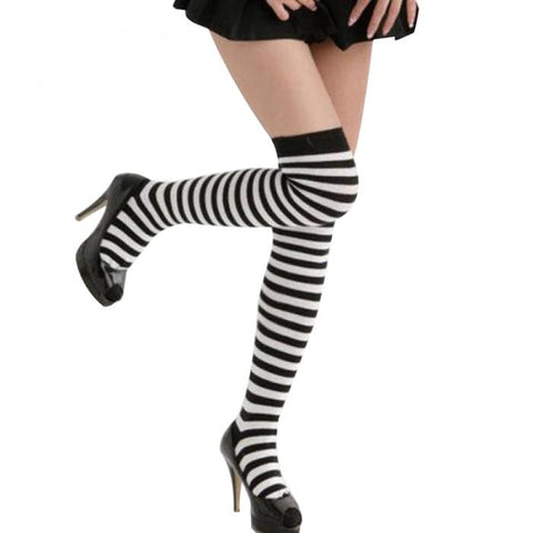 Black/White Striped Thigh High Socks for Women - Hautify