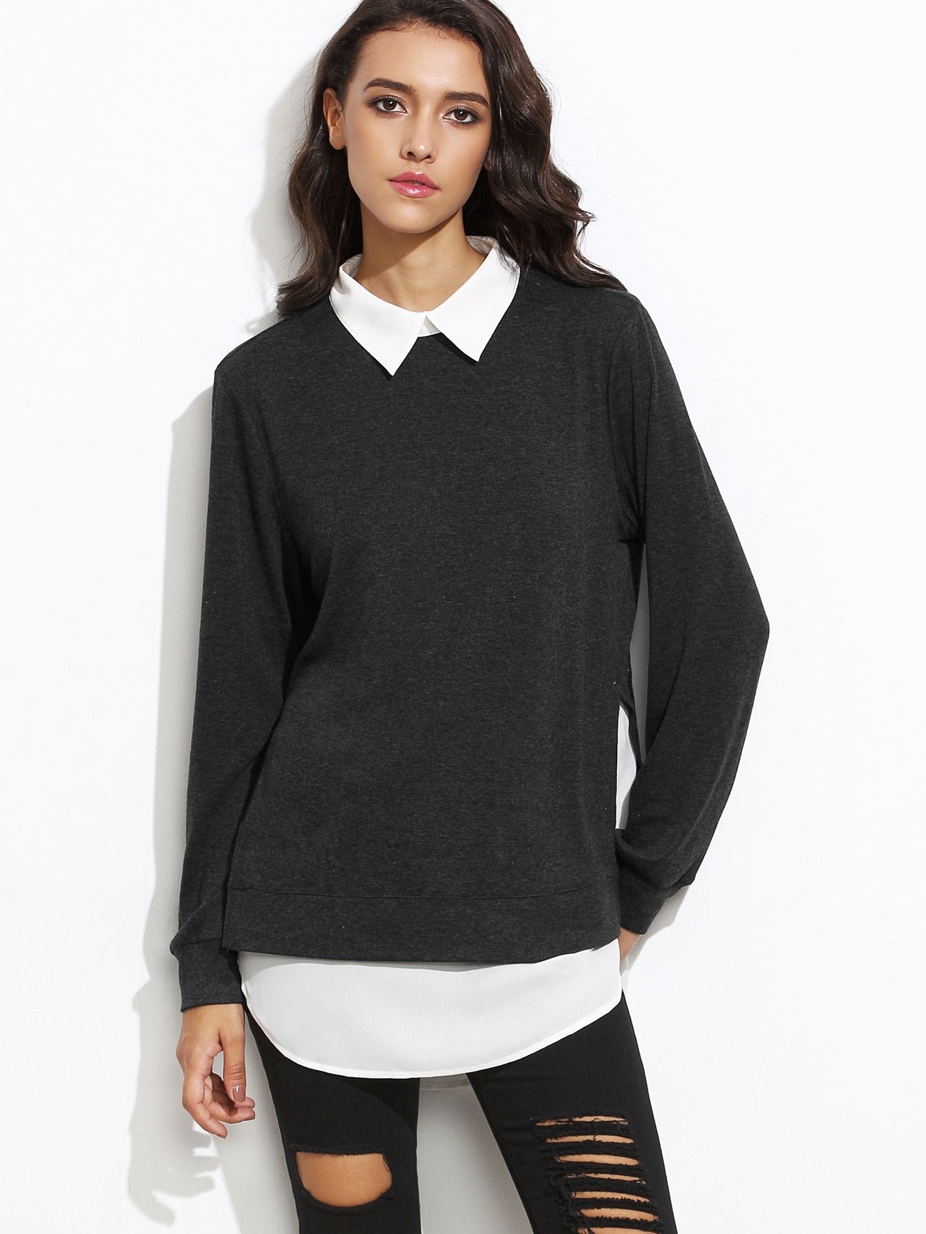 Color Block 2 in 1 Womens Pullover