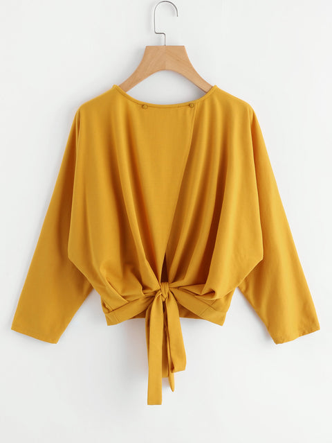 Yellow Top Overlap Tie Back Cute Sweatshirts - Hautify