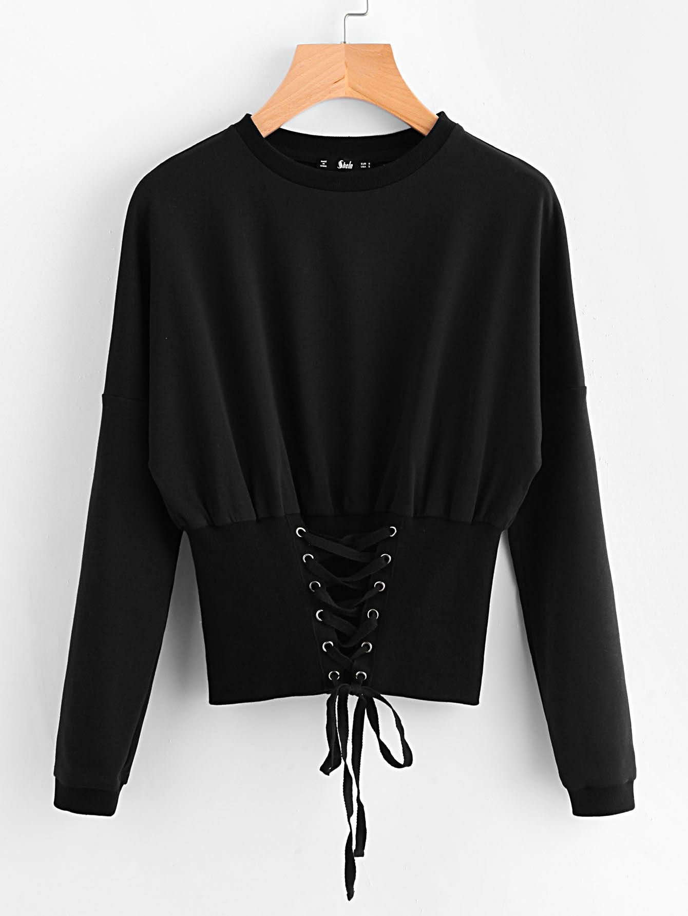 Lace Up Wide Hem Black Women Sweatshirt