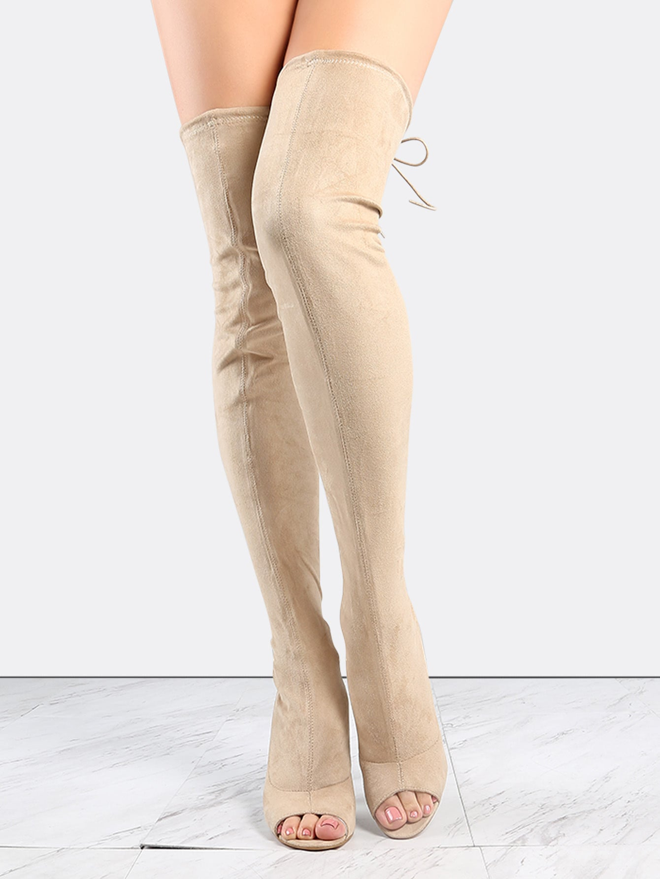 Suede Peep Toe Thigh High Heel Boots