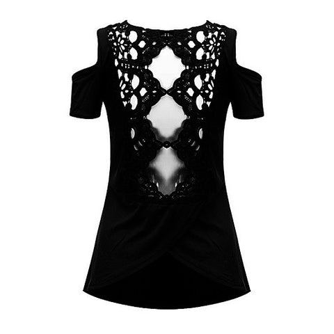 Womens Retro Lace Cut Out Blouse Top
