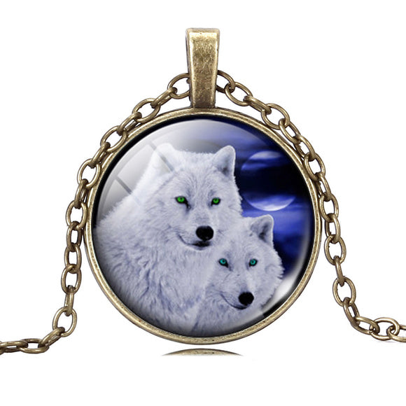 Two Wolves Cabochon Pendant Necklace - Hautify