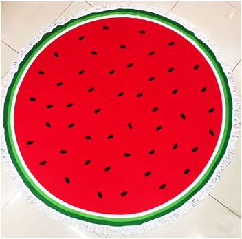 Printed Watermelon Sunbathe Round Beach Towel - Hautify