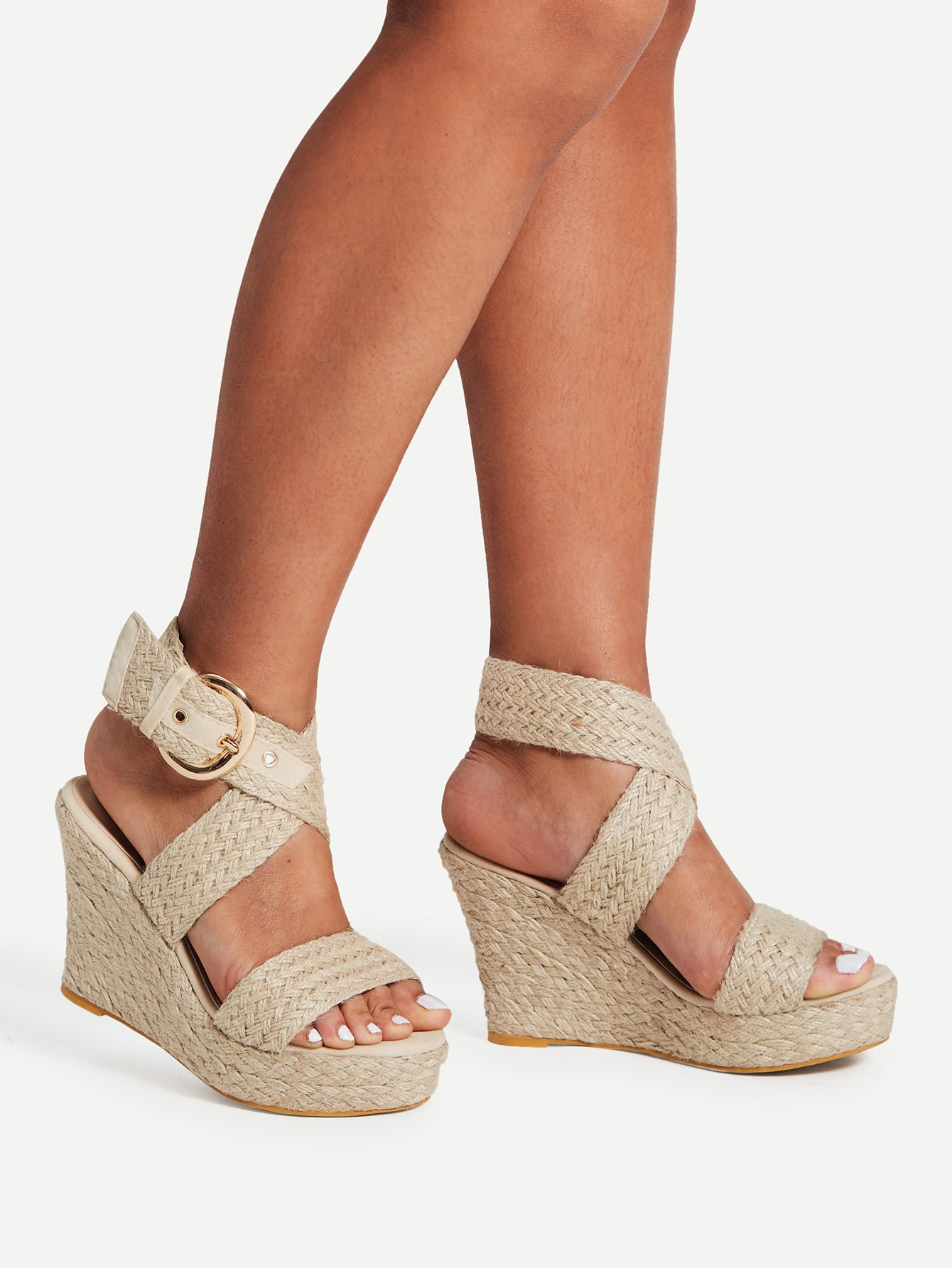 Braided Design Criss Cross Wedge Sandal Heels