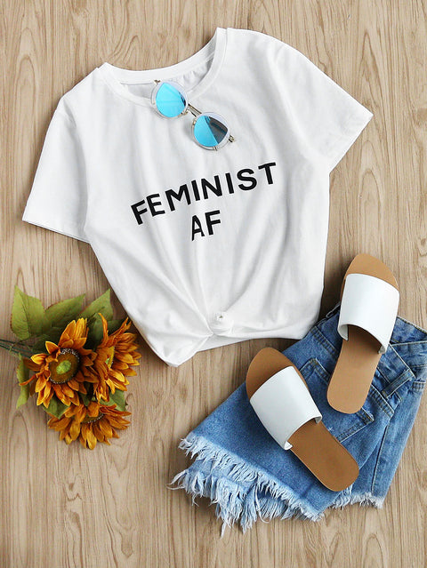 White Top Feminist AF T-shirt - Hautify