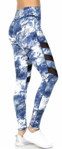 Cloud Print Lace Panels Activewear Pants