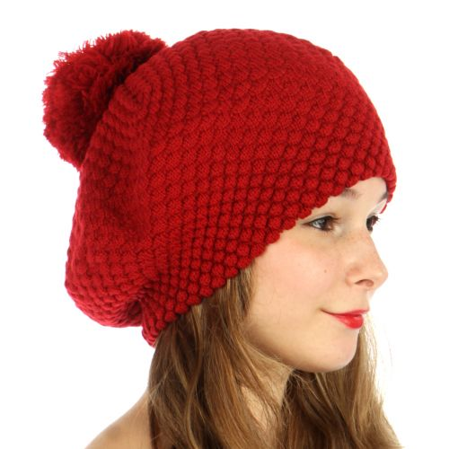 Double Layered Popcorn Knit Pom Beret Red - Hautify
