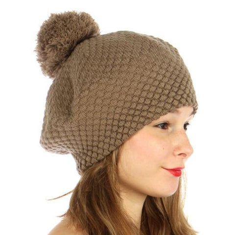 Double Layered Popcorn Knit Pom Beret Taupe - Hautify