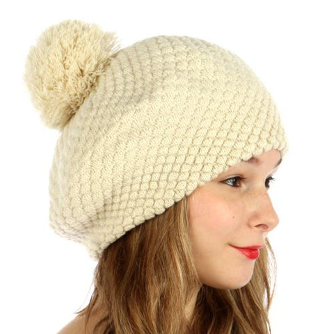 Double Layered Popcorn Knit Pom Beret Beige - Hautify