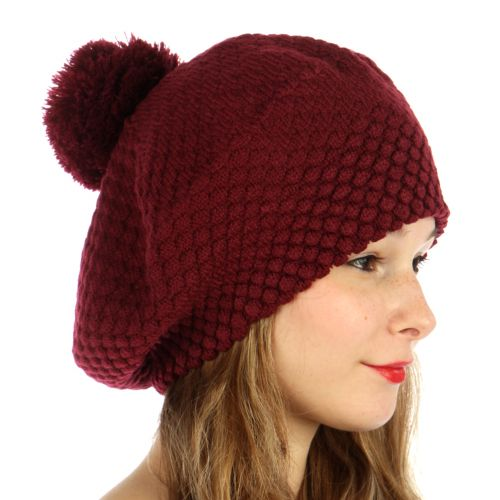 Double Layered Popcorn Knit Pom Beret Burgundy