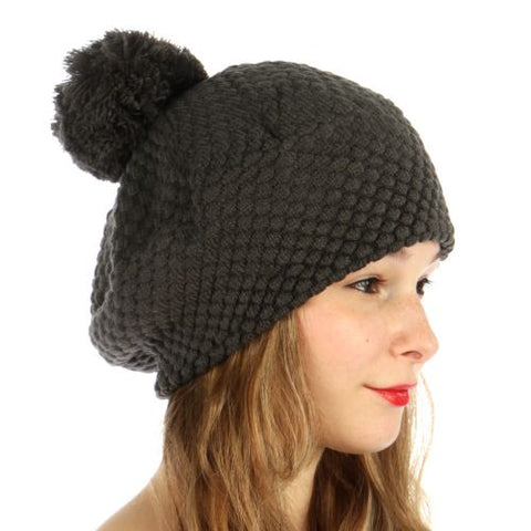 Double Layered Popcorn Knit Pom Beret Charcoal - Hautify