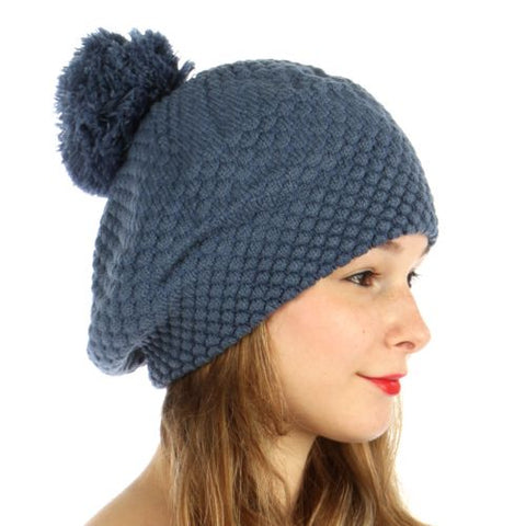 Double Layered Popcorn Knit Pom Beret Blue - Hautify