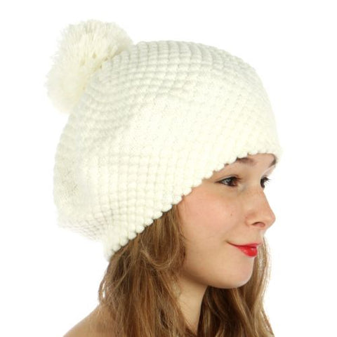 Double Layered Popcorn Knit Pom Beret Ivory - Hautify