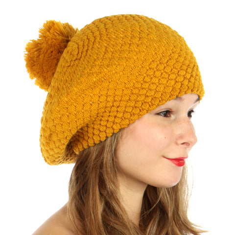 Double Layered Popcorn Knit Pom Beret Mustard - Hautify