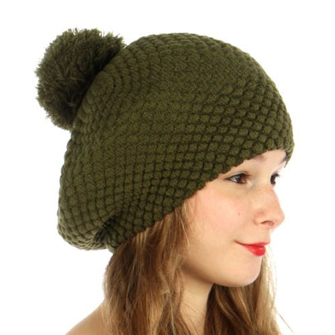 Double Layered Popcorn Knit Pom Beret Olive Green - Hautify