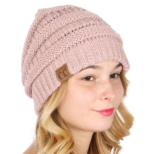 Oversized Metallic Knit Beanie Lavender