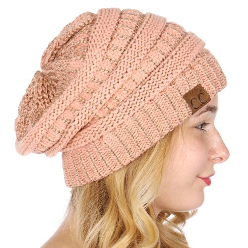Oversized Metallic Knit Beanie Peach