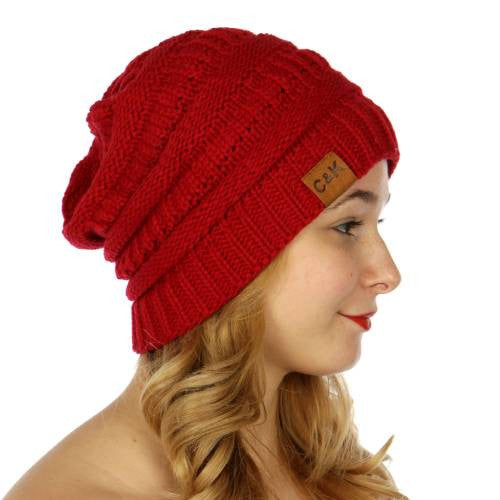 Oversized Slouch Beanie Red - Hautify