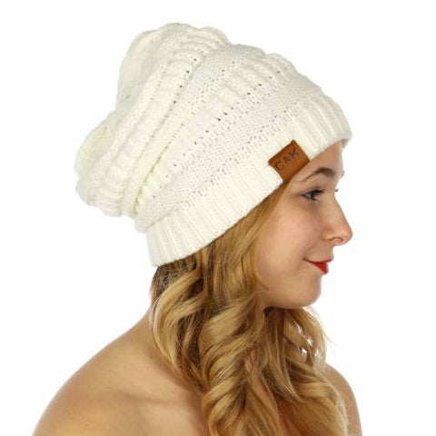Oversized Slouchy Beanie Hat White - Hautify