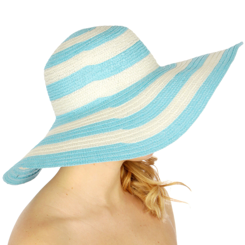 Colorblock Wide Brim Black and White Floppy Sun Hat for Women - Hautify