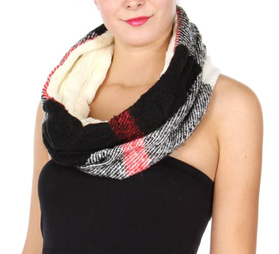 Faux Fur Plaid Infinity Scarf - Hautify
