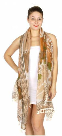 World Map Print Fringe Scarf for Women Best Deal Fast Shipping