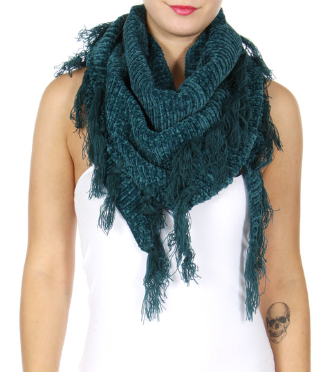 Chenille Frayed Triangle Scarf Teal - Hautify