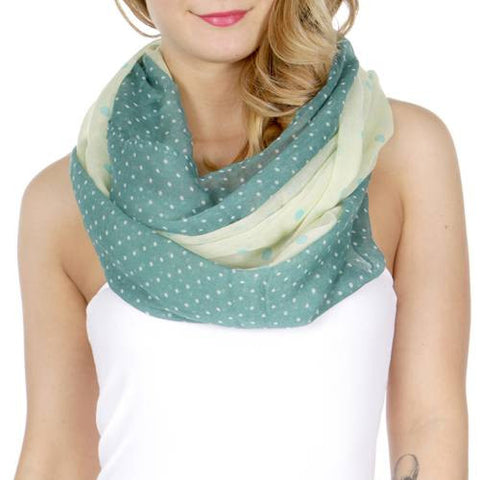 Polka Dot Womens Infinity Scarf Green - Hautify