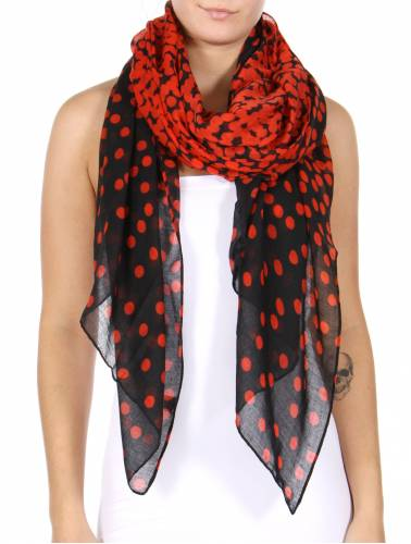 Polka Print Womens Scarf Red