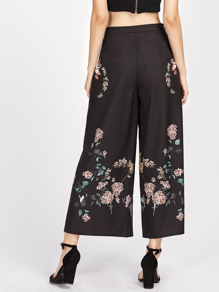 Botanical Print Zip Side Wide Leg Palazzo Trousers - Hautify