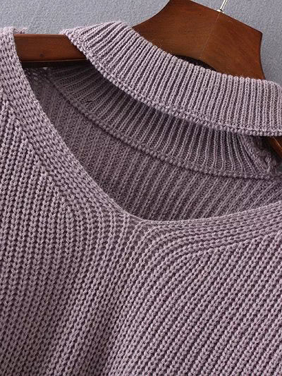 Choker Drop Shoulder Long Sweaters For Fall - Hautify