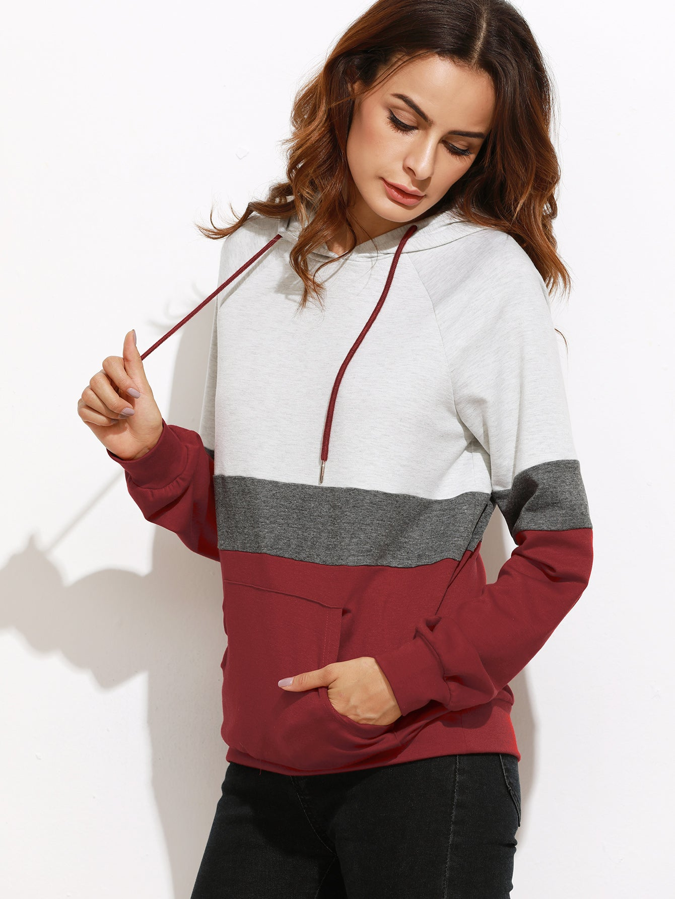 Color Block Womens Long Sleeve Hoodie With Pocket
