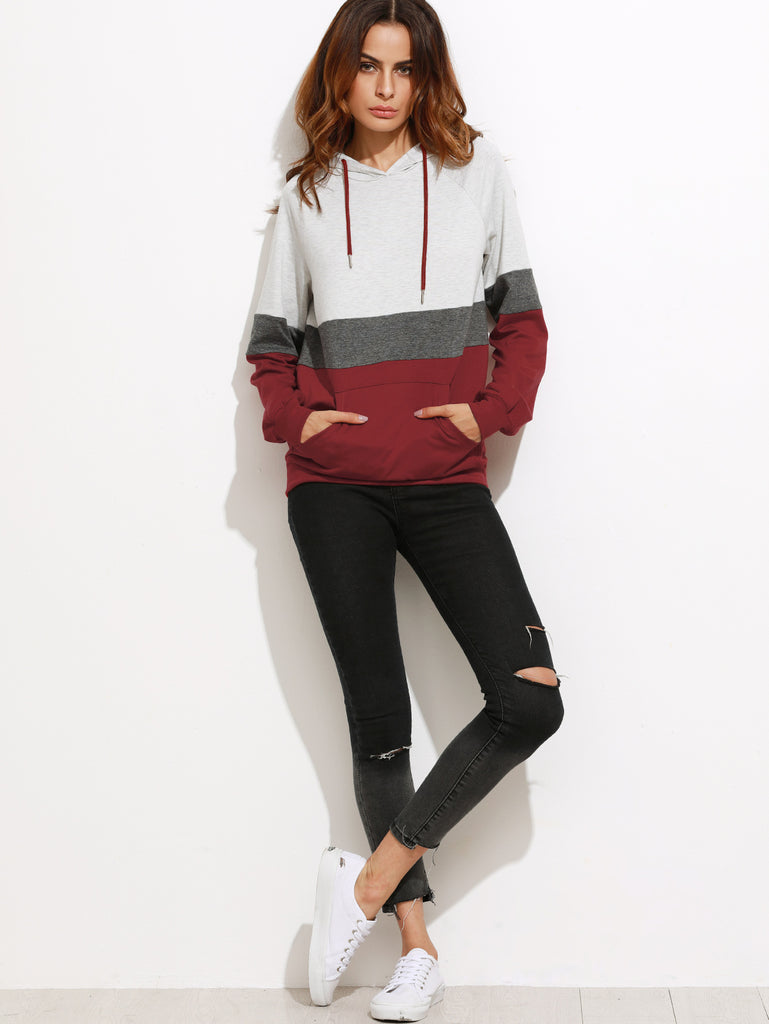 Color Block Womens Long Sleeve Hoodie With Pocket - Hautify