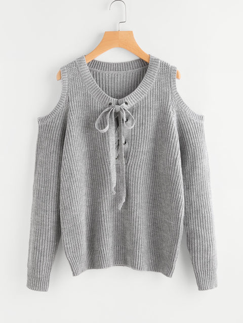 Open Shoulder Lace Up Fall Sweater - Hautify