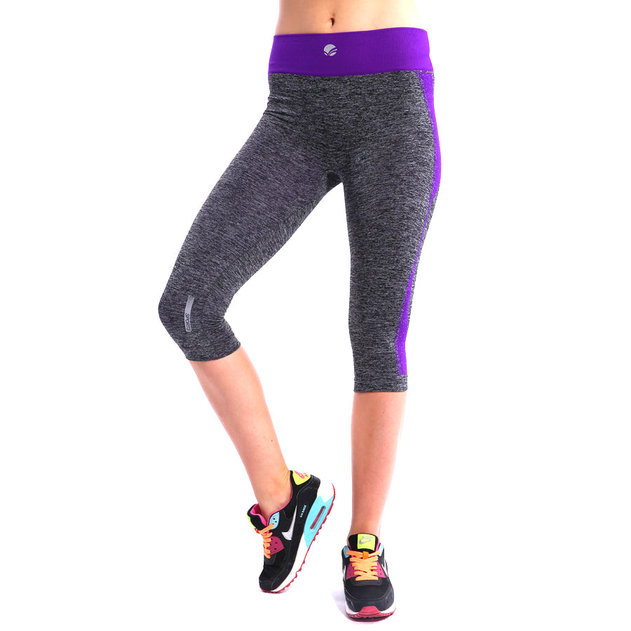 High Waisted Grainy Yoga Capri Pants for Women - Hautify