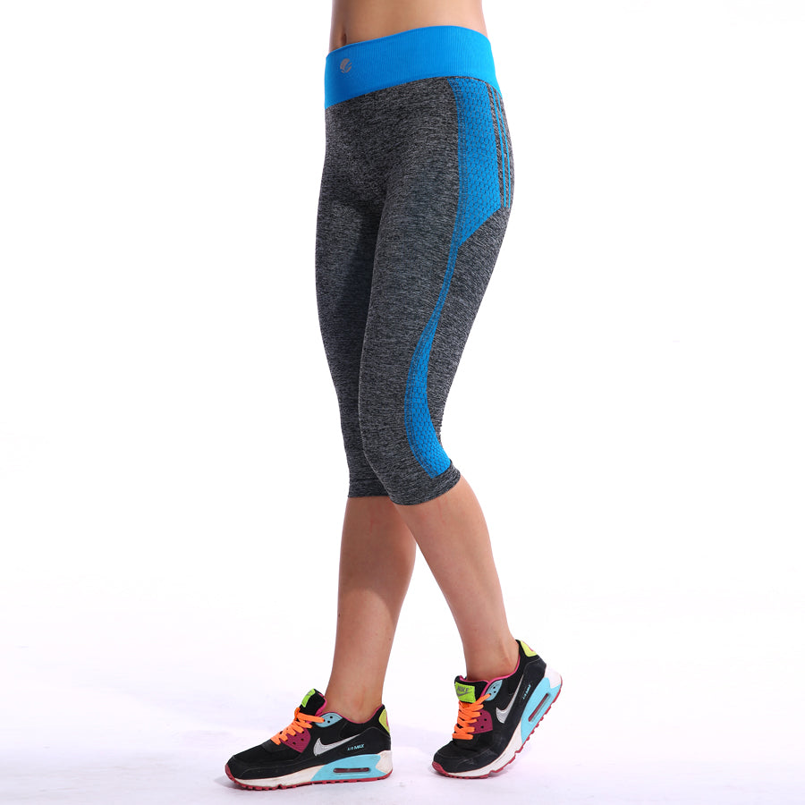 High Waisted Grainy Yoga Capri Pants for Women