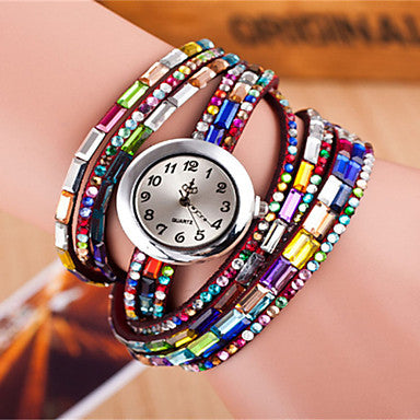 Bling Bling Womens Leather  Wrap Bracelet Watch - Hautify