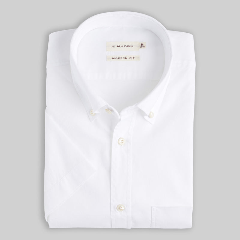 Kurzarmhemd Modern Fit Oxford Weiss