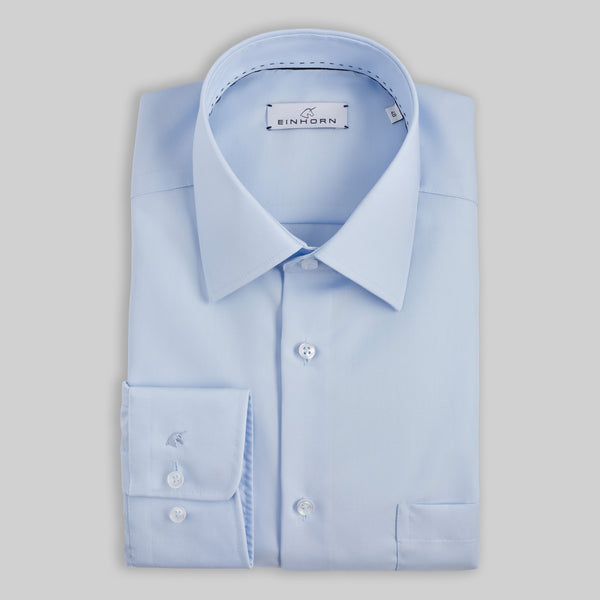 Hellblaues Bügelfreies Einhorn Hemd  Klassische Passform  100% Poplin Cotton  Kragen Kent Fit Regular Fit Derby Non Iron / Bügelfrei Artikel 11305/21