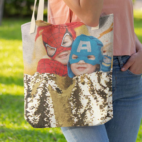 Custom Sequin Tote Bag - Beary Kids