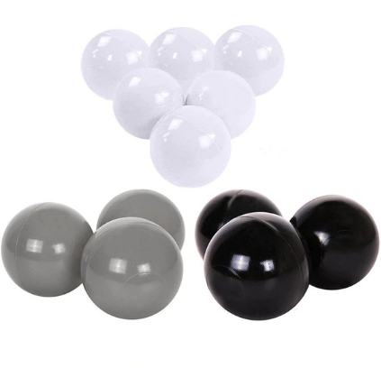 Ball Pit Balls - 100 Balls - White, Grey & Black Mix - Beary Kids